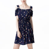 Fashion Women Chiffon Printed off Shoulder Pleated Slip Dress