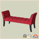Wooden Tufted Fabric Linen Long Bench with Buttons Antique Furniture