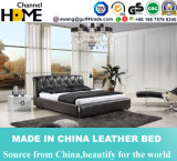 Classic Bedroom Black Genuine Leather King Bed Buttom Tufted (HC277)
