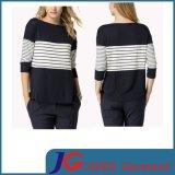 Loose Style Shirt Close-up Women Top Strip Jersey (JS9021)