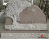 Red Granite Tree Shape Carving Headstone for Cemetery