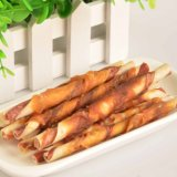 Chicken Wrap Bi-Color Cowhide Stick Dog Product