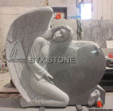 Light Grey Granite Angel Monuments Heart Headstone with Shoes