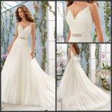 Lace Tulle Princess Bridal Gown A-Line Simple V-Neck Wedding Dresses Bl5411