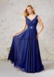 Women′s Chiffon V-Neck Sleeveless Prom Dress Simple Bridesmaid Dress