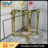 Gold Steel Frame with Clear Tempered Glass Side Table