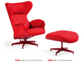 Hot Sale Red Fabric Leisure Chair Set with Ottoman (LCS-011)