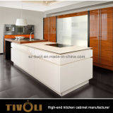 Red & White Lacquer Kitchen Cabinet with Fany Island Design (AP090)