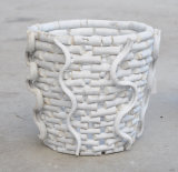 Round Shaped White Washed Rattan Garden Planter