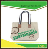 Customized Jute Tote Shopping Bag Zipper Closed