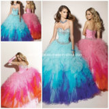 Colorful Strapless Beading Piping Tulle Ball Gowns Yao67