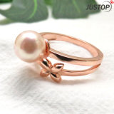 Shell Pearl Flower Two Circle Ring with Rose Gold Plated Plating for Women