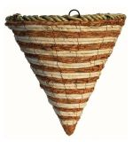 Natural Cone Shaped Hanging Basket with Wire Hanger