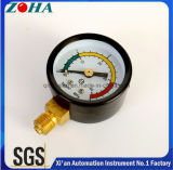 0-4MPa 0-40kg/Cm2 Air Pressure Gauge with Black Steel Case Double Scale Dial Three Color for Warning