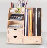 Wooden DIY Desk Organizer with Drawer and Magazine Holder D9116