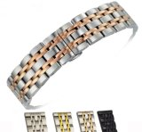 New Stainless Steel 7 Beads Watch Band Strap 14 16 18 20 22mm Watchband High-End Men&Women Classic Wristband
