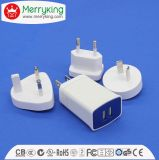 Logo Print 5V 2.1A White Dual USB Charger with Multi Plugs