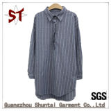 OEM Cotton Long Sleeve Polo Collar Striped Long Shirt for Women