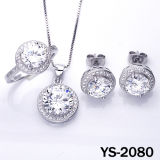 Micro Pave Setting Jewelry in Sterling Silver Set (YS-0604)