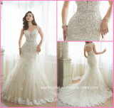 A-Line Bridal Gown Lace Beads Hollow Back Wedding Dress Y11643