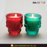 Colors Glass Candle Holder for Decoration with Skull Shape