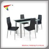 Popular Modern Glass Metal Dining Table Set (DT061)