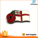 No Mold Cost Wholesale Custom Flag with Poppy Metal Lapel Pin