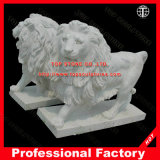 Lion Marble Statue Stone Carving Marble Sculpture for Home Decoration