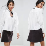Ladies Collarless Blouse with Long Sleeve Sexy Fashion Blouse