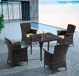 Cheap Set PE-Rattan Outdoor Garden Furniture Dining Set with Chair & Table (YTA026&YTD446-4)