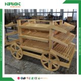 Supermarket Hypermarket Pine Wooden Luxury Vegetable Rack Display Car