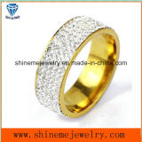 Filled Stones Stainless Steel Gold Plated Men and Women Jewelry Ring (CZR2573)