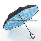 Double Canopies Portable Handsfree Straight Reverse Inverted Umbrella