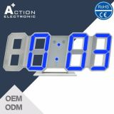3D Blue LED Digital Wall Clock with Night Mode