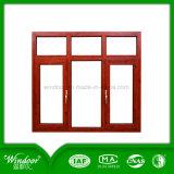5mm+9A+5mm Double Glazed Aluminum Window, Wood Transfer Color Double Glass Aluminum Window