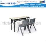Metal School Furniture Double Table and Chair Set (HF-07911)