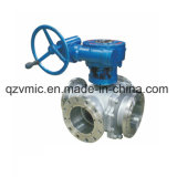Worm Gear Operated Four-Way Flanged Ball Valve Pn16-64 Ball Valve Factory Manufactory Manufacturer