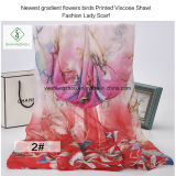 Newest Gradient Flowers Birds Printed Viscose Shawl Fashion Lady Scarf