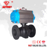 2PC Flanged Wcb Ball Valve with Pneumatic Actuator