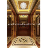 Passenger Elevator with Wood Veneer and Golden Mirror Stainless Steel
