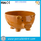 Piggy Shape Cute Footed Ceramic Bowl