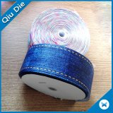 Custom Wholesale Heat Transfer Printed Grosgrain Ribbon Blue