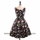 Satin A-Line Scoop Neck Pattern Knee Backless Sleeveless Prom Dress