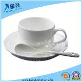 White Ceramic Coffee Cup with Spoon
