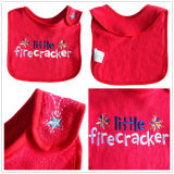 OEM Produce Customized Design Applique Cotton Terry Embroidered Promotional Baby Bib