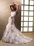 Ivory Sweetheart Mermaid Organza Bridal Wedding Dress