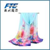 Lady Fashion Flower Printed Silk Chiffon Infinity Spring Scarf