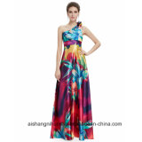 Women One-Shoulder Floral Print Evening Party Prom Dress