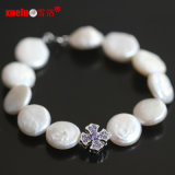 Fashion Charms Coin Baroque Natural Fresh Water Pearl Bracelet (E150053)