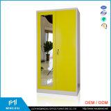 Mingxiu Office Furniture Yellow Double Door Wardrobe Design / Steel Wardrobe
